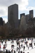 Ice skating in Central Park, New York City, USA Stock Photos