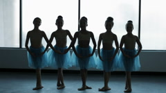 Portrait of young girls in ballet tutu dancing barefoot Stock Footage