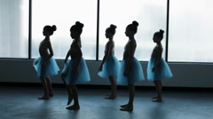 Young ballet dancers in dance school in silhouette Stock Footage