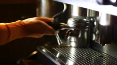 Stock Video Footage of Detail of an espresso making machine and a cup.