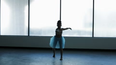 Graceful young girl ballet dancing in silhouette Stock Footage