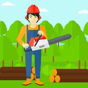 Lumberjack with chainsaw - stock illustration