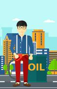 Man with oil can and filling nozzle - stock illustration