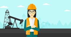 Cnfident oil worker - stock illustration