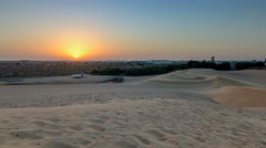 Extreme desert landscape timelapse with orange sunset, beautiful sandy - stock footage
