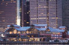 Pier 17 building, South Street Seaport, New York City, USA Stock Photos