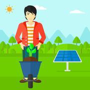 Man with plant and wheelbarrow - stock illustration