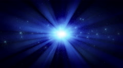 Bright star cluster with blue rays, seamless loop Stock Footage