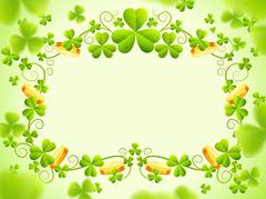 St Patricks holiday frame with green clover leaves - stock illustration