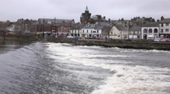 Dumfries Scotland city center River Nith waterfall traffic 4K Stock Footage