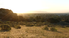 Sunrise meadow at the Edge of Los Angeles Stock Footage