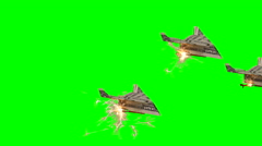 US Dollar Paper Airplane Formation with Chroma Green Background Stock Footage
