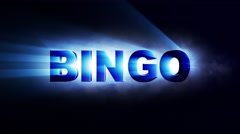 BINGO Text Animation Lights Rays, Loop, 4k Stock Footage