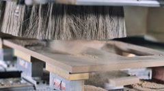Stock Video Footage of Slow motion automatic milling cutting wood machine. drill bit mill grooves