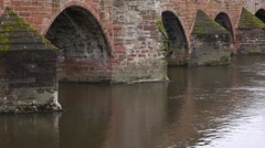 Dumfries Scotland River arch Bridge over water 4K  Stock Footage