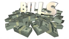 Bills Paying Invoice Money Owed Payment Cash Piles Stacks 3D Stock Footage