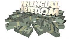 Financial Freedom Money Stacks Piles 3d Words Wealth Riches Income Stock Footage