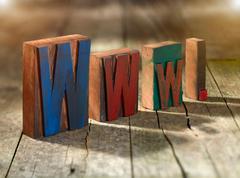 Wooden blocks spelling www. - stock photo