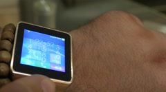 A Man Uses A Smart Watch iwatch On His Arm 4K 3 - stock footage