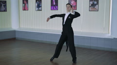 Man dancing ballroom dances. Classic style, 4k Stock Footage