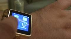A Man Uses A Smart Watch iwatch On His Arm 4K Stock Footage