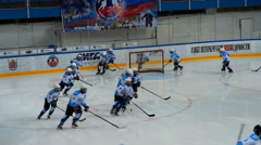 Team warming up before the hockey match Stock Footage