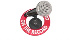 On the Record Microphone Quote Speech 3d Words Stock Footage
