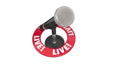 Live Word Microphone Urgent News Report Update Announcement Stock Footage