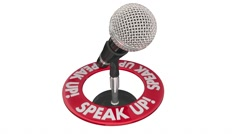 Speak Up Microphone Communicate Voice Ideas Opinions 3d Words - stock footage