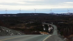 A static shot of Windmills overlooking the drive known as The Irish Loop, NL. - stock footage