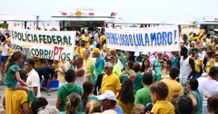 Middle class protest on Copacabana Beach, Rio de Janeiro, Brazil Stock Footage