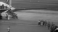 France 1952: passenger embarking Stock Footage
