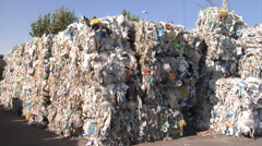 Material Recovery Facility. Panorama of plastic waste ready for reprocessing. Stock Footage
