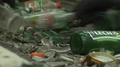 Manual sorting of glass in a Mixed Waste Processing Facility. Stock Footage
