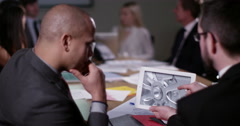 4k, Business team using computer tablet with creative automotive design drawings Stock Footage