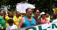 People Protest Against Corruption. Copacabana, Rio De Janeiro, Brazil - stock footage