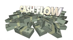 Cash Flow Money Piles Stacks 3d Words Income Earnings Finances Stock Footage