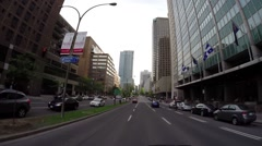 Montreal - Rene Levesque  street by car 3 Stock Footage