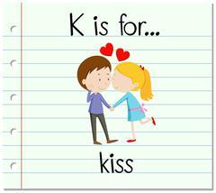 Flashcard alphabet K is for kiss Stock Illustration