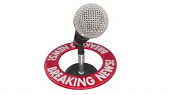 Breaking News Important Announcement Big Story Microphone - stock footage
