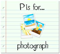 Flashcard letter P is for photograph Stock Illustration