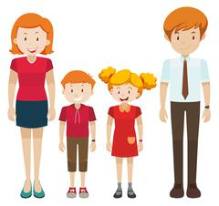 Family with parents and children Stock Illustration