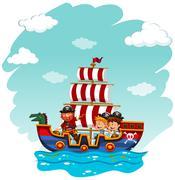 Children riding on viking boat Stock Illustration