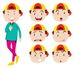 Man with facial expressions - stock illustration