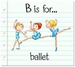 Flashcard letter B is for ballet - stock illustration