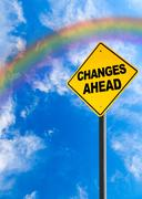 Changes Ahead Sign With Rainbow Sky and Copy Space Stock Photos