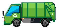Garbage truck in green color Piirros