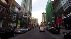 Montreal - st catherine  street by car 3 Stock Footage