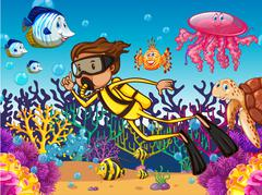 Diver diving underwater with many sea animals - stock illustration
