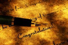 Fountain pen on congratulation text - stock illustration